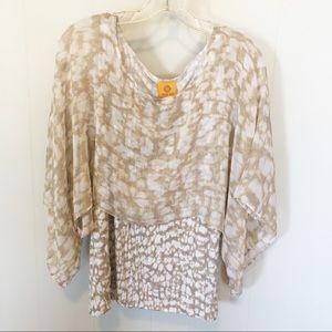 Ruby Rd. Poncho Style Blouse Tan & White Size L